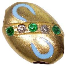 Antique Victorian 10K Gold Enamel Paste Oval Slide Charm For Bracelet 002712