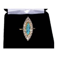 Antique Victorian 18K Gold Platinum Diamond Turquoise Marquise RIng Size 5 3/4 C.1890