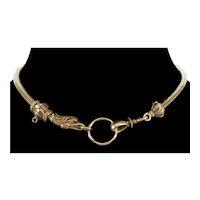 Antique Georgian 14K Gold Snake Head Watch Chain Necklace C.1820