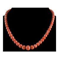 Vintage Momo Coral Bead Necklace 14K Gold Patent Clasp C 1960