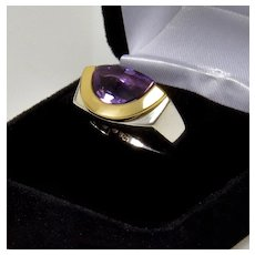 Movado 18K Gold Sterling Amethyst Radius Ring Size 6