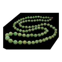 Antique Victorian Jadeite Jade Bead Necklace C.1890