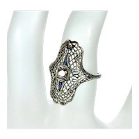 Art Deco 18K White Gold Diamond Sapphire Ring Size 5 3/4 C.1920