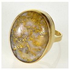 Art Deco Style Gold Quartz 14K Coctail Ring Size 6 Gold Rush Nostalgia