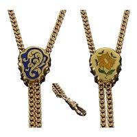 Antique Victorian 14K Gold Enamel Slide Guard Chain C.1890