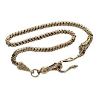 Antique Georgian 10K Gold Snake Head Watch Chain Necklace C.1820 Snake Hook Dog Clip Clasps