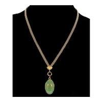 Antique Victorian 14K Rose Gold Turquoise Pendant Mesh Chain Necklace C.1890