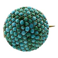 Antique Victorian Persian Turquoise Pave Sterling Brooch Pin C.1860