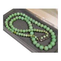 "Antique Art Deco Jadeite Jade Bead Necklace 22 1/2"", Sterling Clasp C.1920"