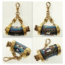 Imperial Russian Enamel Ruby 14K Gold Sterling Fob Pendant Dog Clip Clasp C.1880