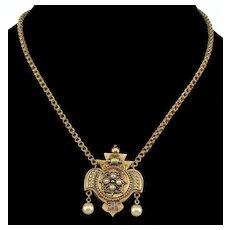 Antique Victorian Etruscan Revival 14K Gold Pendant Chain Necklace C.1860