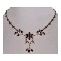 Antique Victorian Bohemian Garnet Brass Necklace C.1890 Floral Design