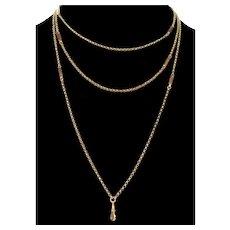 Antique Victorian 9K Gold Guard Belcher Chain Necklace C.1870 Trombone Links