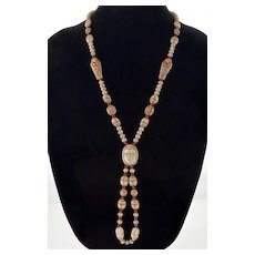 Art Deco Neiger Czech Egyptian Revival Uranium Glass Necklace C.1920 Scarabs Mummy
