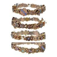 Antique Victorian Gold Slide Bracelet Black Opal Turquoise Pearl C.1880