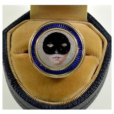 Antique Georgian 14K Gold Enamel Masked Face Ring Size 8