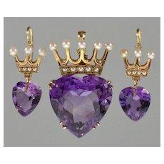 Antique Edwardian 14K Gold Amethyst Pearl Earrings Pendant Set C.1900 Heart Crown Ruler Of My Heart 28CTW