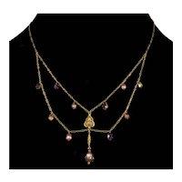 Georgian 14K 9K Gold Foil back Paste Drop Chain Necklace C.1820