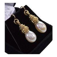 Antique Victorian 14K Gold Pearl Dangle Earrings C.1890