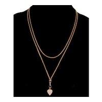 Antique Victorian 14K Gold Pearl Heart Pendant Necklace C.1890 Slide Guard Chain