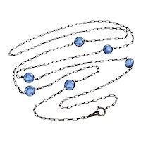 """Antique Victorian Bezel Set Blue Paste Gunmetal Guard Muff Chain Necklace 58"""""""