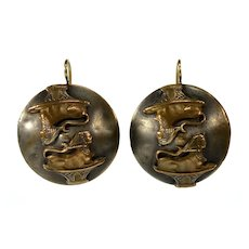 Antique Victorian Egyptian Revival Sphinxes Bronze Earrings 14K Gold WIre C.1850