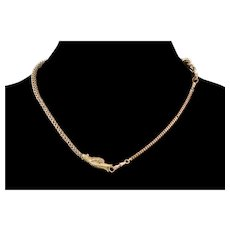 Antique Georgian 10K Gold Dolphin Head Necklace C.1820 Snake & Wheat Watch Chain Dog Clip Clasps
