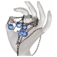 """Antique Victorian Bezel Set Blue Paste Gunmetal Guard Muff Chain Necklace 58"""" C.1860"""