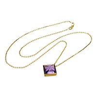 Italian 14K Gold Carved Amethyst Pendant Necklace