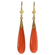 Antique Victorian 14K Gold Salmon Coral Dangle Earrings C.1890