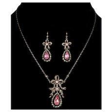 Antique Georgian Bow Earrings Necklace Set Paste Marcasite Sterling C.1820