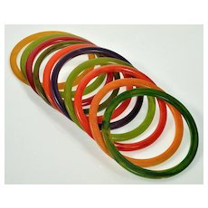 Art Deco Set Of 10 Bakelite Bangle Bracelets Translucent Prystal Marbled Multi Color C.1930