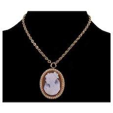 Antique Victorian 14K Gold Hardstone Pearl Cameo Pendant Brooch Marie De Medici C.1890