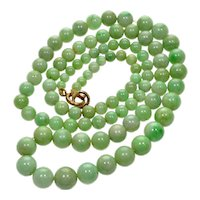Antique Art Deco Jadeite Jade Bead Necklace 002791