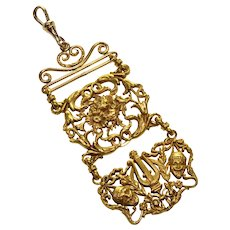 Antique Victorian Pinchbeck Watch Fob Pendant Aesthetic Movement C.1890