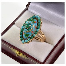Vtg 14K Gold Persian Turquoise Enamel Cocktail Ring Size 6.5