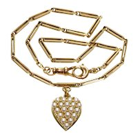 Antique Victorian14K Gold Necklace Choker Pearl Heart Pendant C.1880
