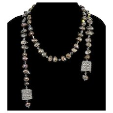 Designer Black Rainbow Baroque Pearls Sterling Lariat Necklace From Saks 5th Ave