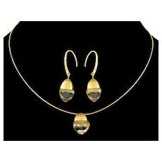 Giorgio Armani Italian 750 Gold Rock Crystal Earrings Necklace Set