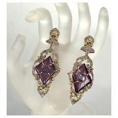 Vintage Large 14K Gold Silver Tourmaline Diamonds Earrings