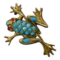 Antique Victorian Turquoise Sterling Frog Pin Brooch C.1890