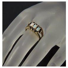 Designer 14K Gold Australian Opal Diamond Ring Size 6 1/4