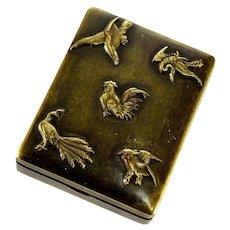 Antique Japanese Meiji Shakudo Birds Stamp Box Case Brass C.1890