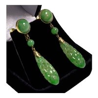 Art Deco 14K Jadeite Jade Dangle Earrings Hand Carved C.1920