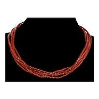 Antique Edwardian Fine Red Coral 9K Gold Multi Strand Necklace C. 1900