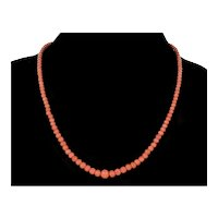 """Antique Victorian Peach Pink Coral Bead Necklace 20"""" Long"""