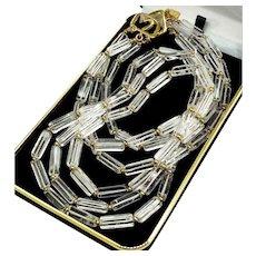 Kenneth Lane Rock Crystal 3-strand Statement Necklace Signed, 60's - 70's