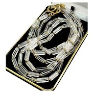 Kenneth Lane Rock Crystal 3-strand Statement Necklace Signed, 60's - 70's