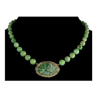 Antique Art Deco 14K Jadeite Jade Hand Carved Plaque Bead Seed Pearl Necklace C.1920