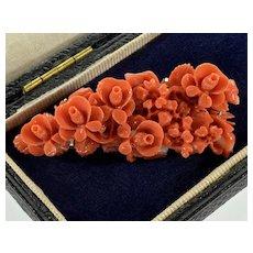 Hand Carved Momo Coral Roses 14K Brooch Pin C.1930
